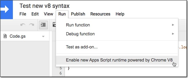 Enable V8 runtime in Apps Script
