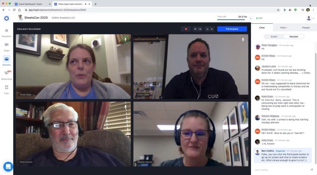 Online Conference roundtable discussion room for educators