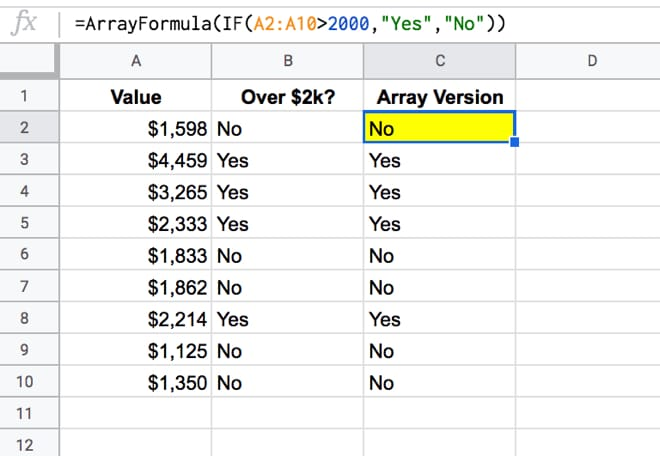 Array Formulas with IF function