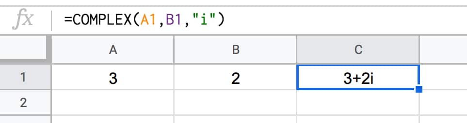 Complex Number Function in Google Sheets