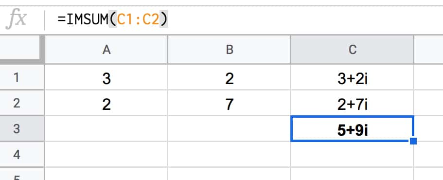 Adding complex numbers in Google Sheets