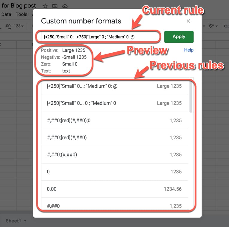 Google Sheets Custom Number Format Editor