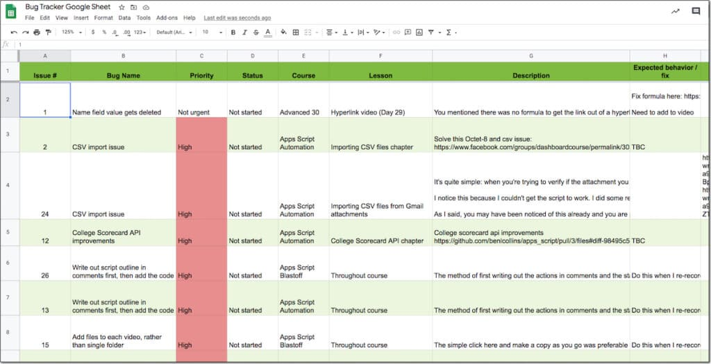 Google Sheet bug tracker