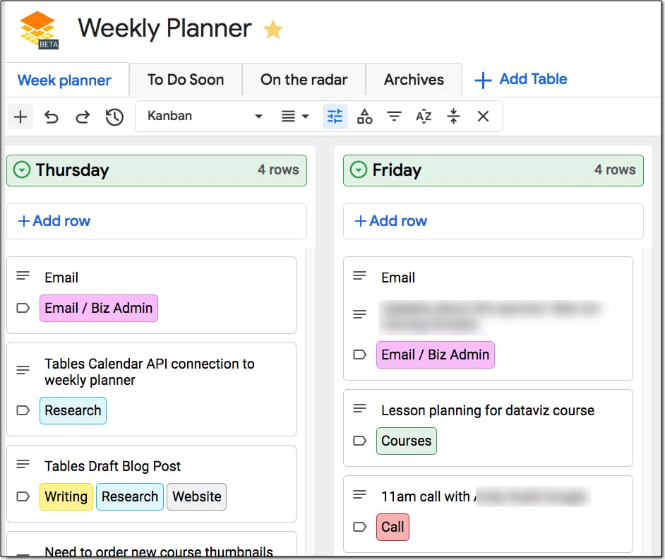 Google Tables Weekly Planner
