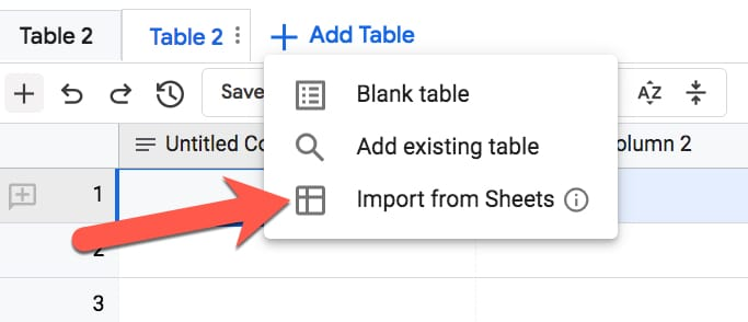 Tables Import From Sheets