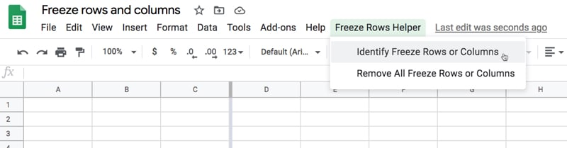 Apps Script Freeze Rows Menu