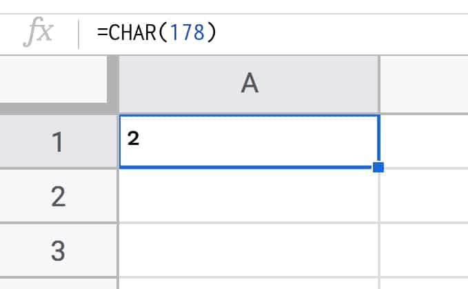 char function Google Sheets