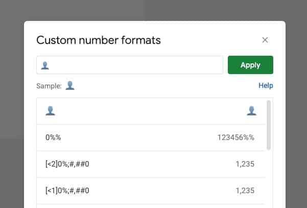 Custom Number Rule in Google Sheets