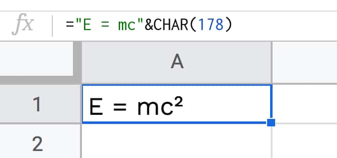 Mass Energy Equation in Google Sheets
