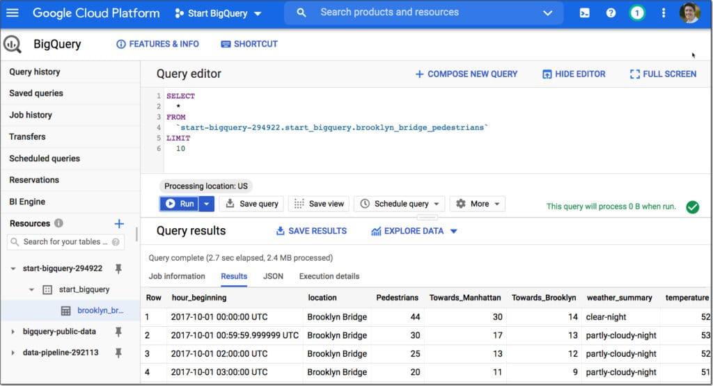 Google BigQuery first query