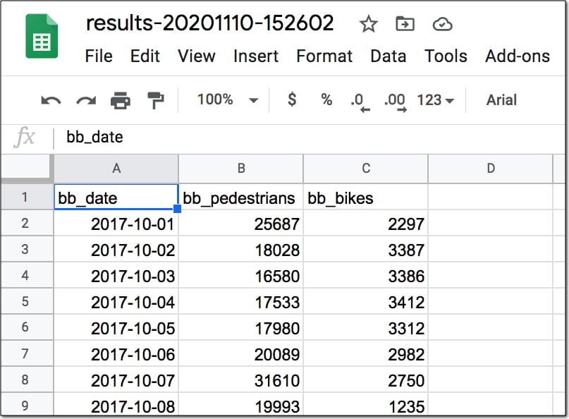 Export data from BigQuery to Google Sheets