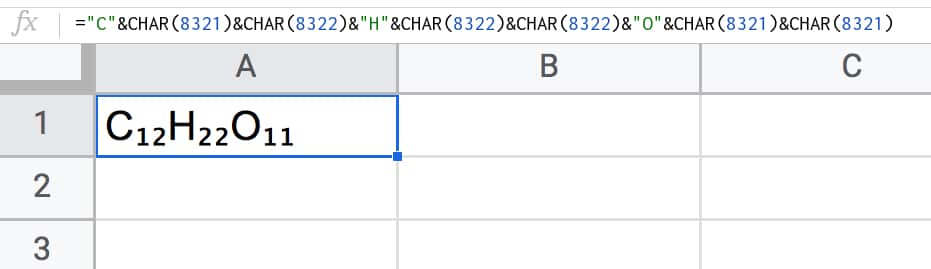 Subscript In Google Sheets