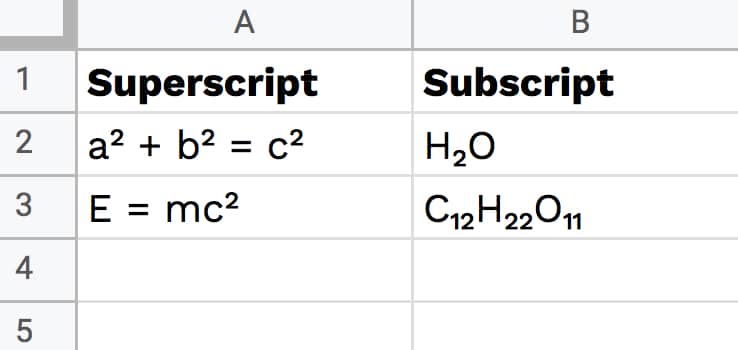 Superscript In Google Sheets