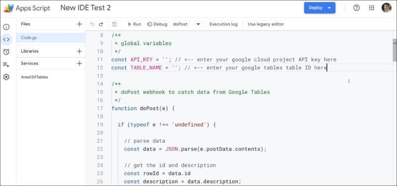 New Google Apps Script IDE