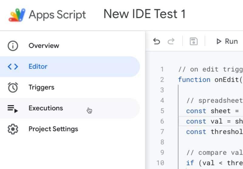 Apps Script IDE menu