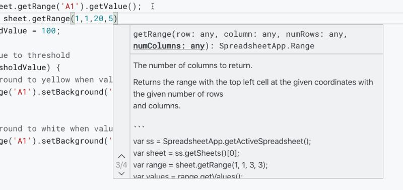 apps Script IDE autocomplete