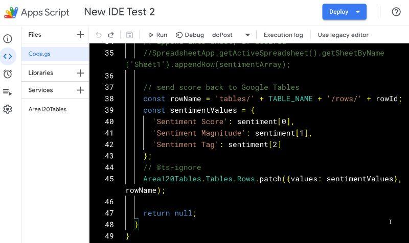 Apps Script IDE High Contrast Mode