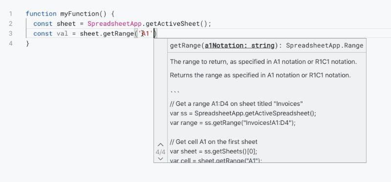 Apps Script trigger Parameter Hints