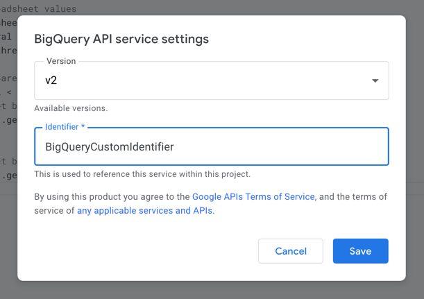 Apps Script service custom Identifier