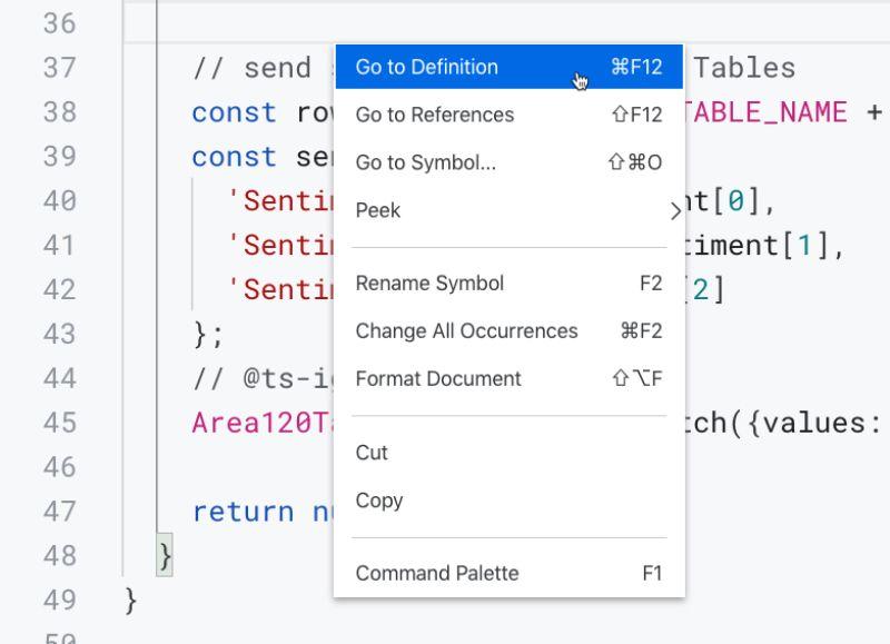 Editor context menu Apps Script IDE