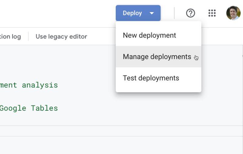 Deployment Menu Apps Script IDE