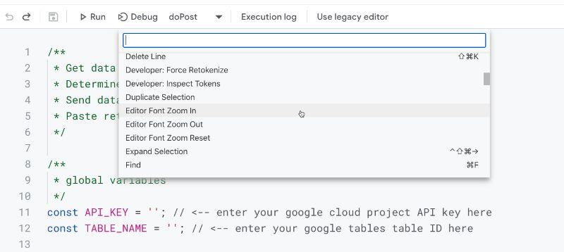 Apps Script IDE command Palette