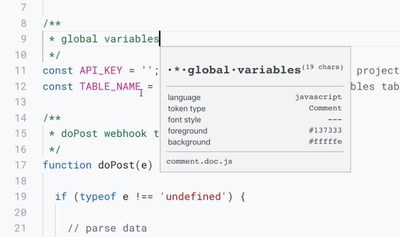 Apps Script inspect Tokens