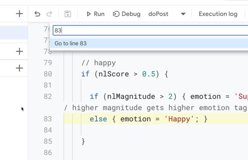 Google Apps Script IDE go To Line