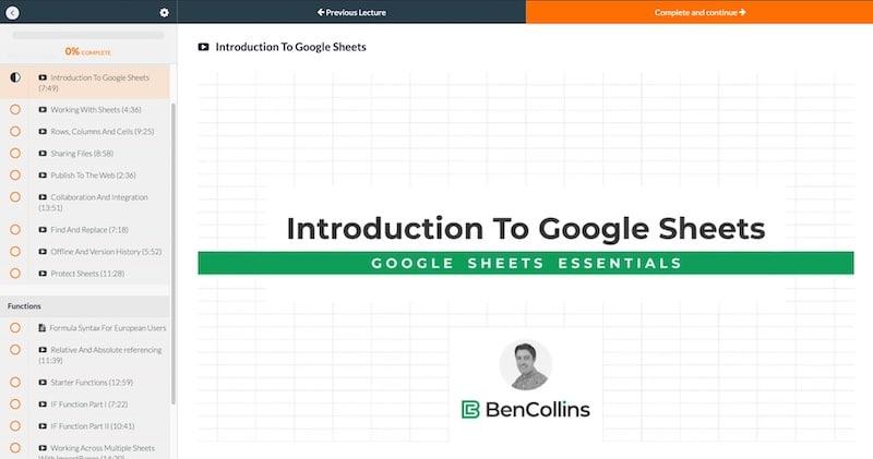 Google Sheets Essentials Course