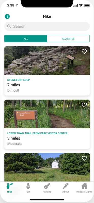 Glide App Screenshot Hikes
