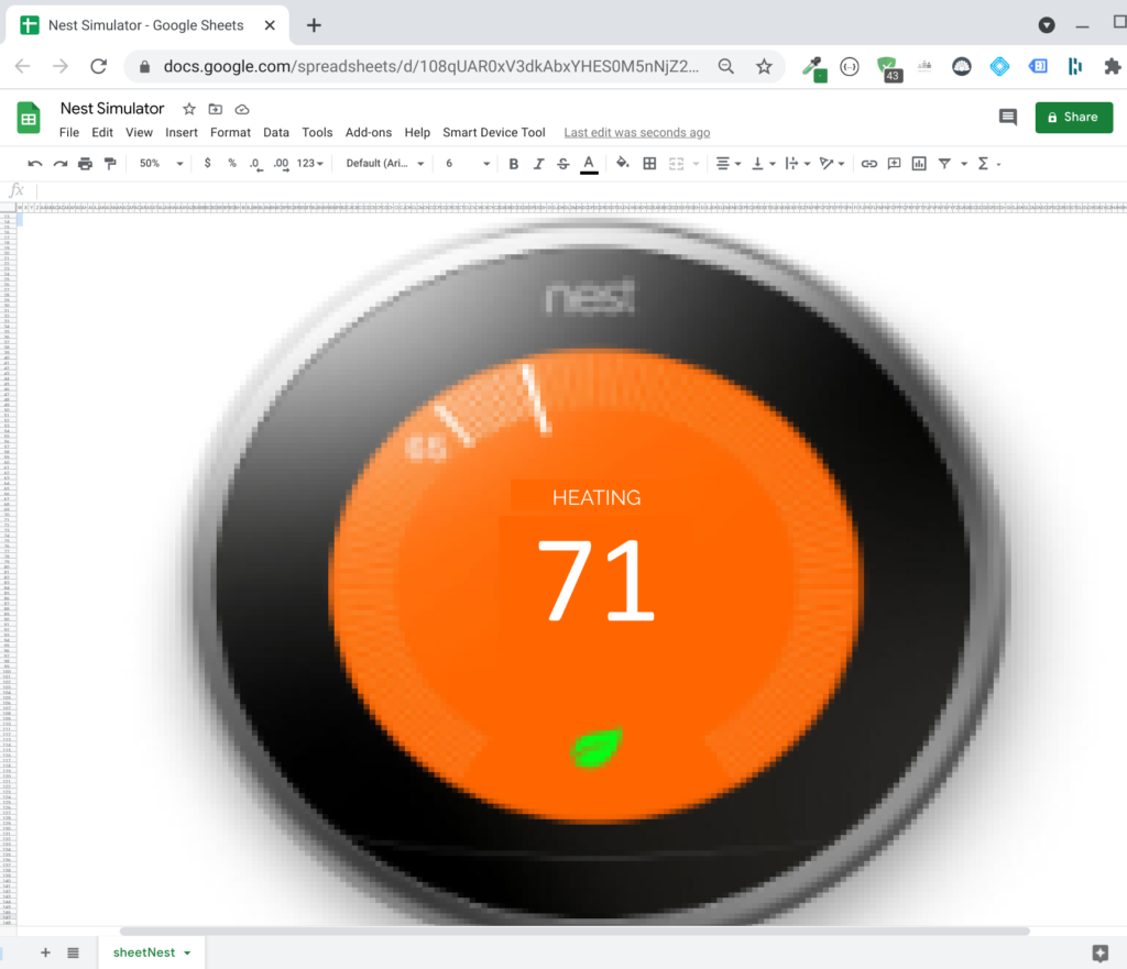Nest Thermostat in Google Sheets