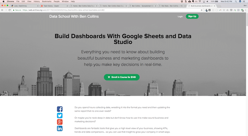Version 1 of the Google Sheets Dashboard course