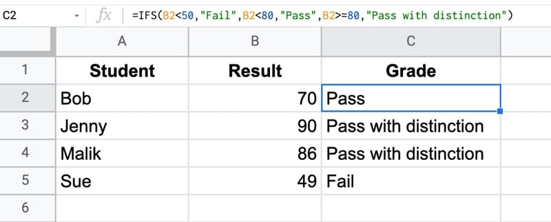 IFS Function In Google Sheets Exam Grade