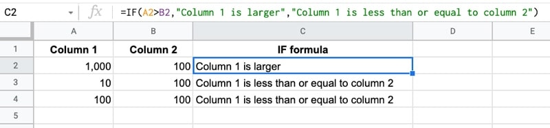 IF  function Google Sheets