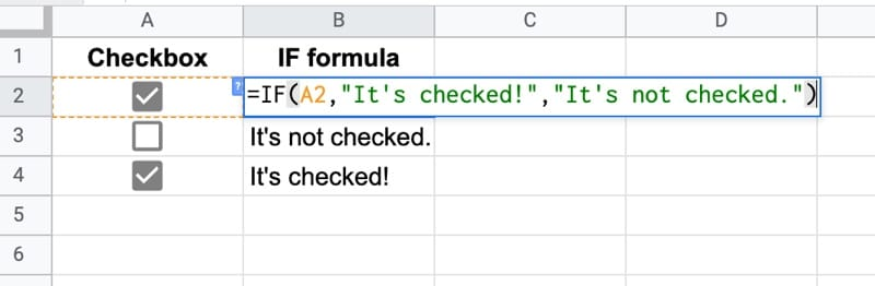 IF function checkbox