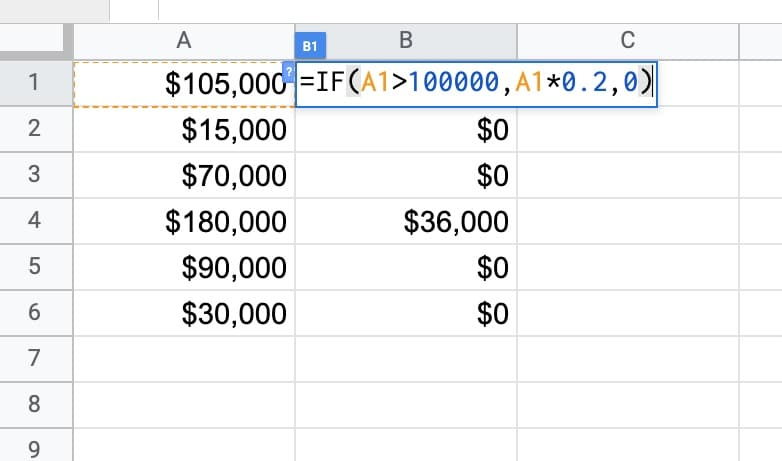 IF formula Calculation