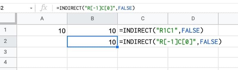 Indirect Function R1C1 Notation