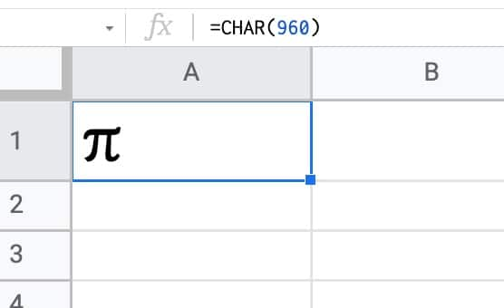 Pi Symbol With Char Function