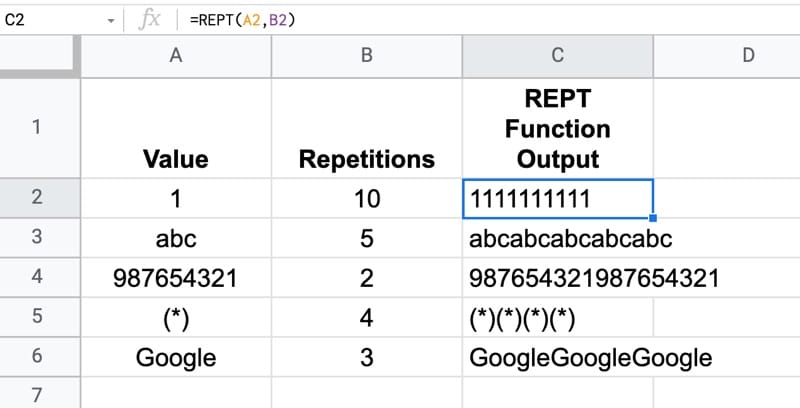 Rept formula examples in Google Sheets