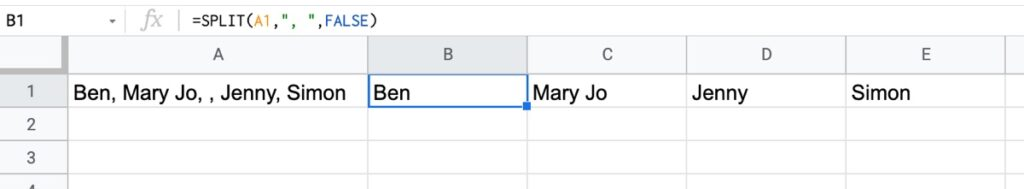 Split names in Google Sheets