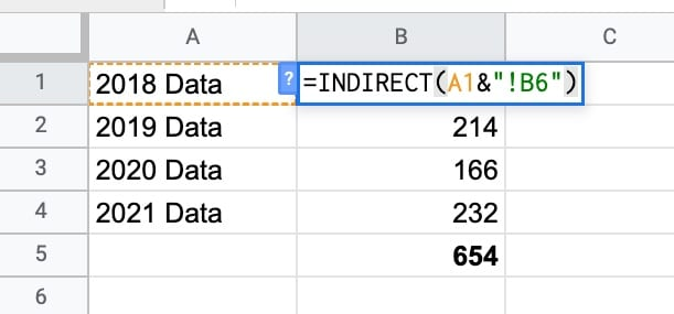Indirect Formula Example across Google Sheets
