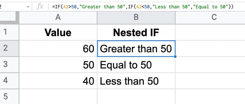 nested IF formula in Google Sheets