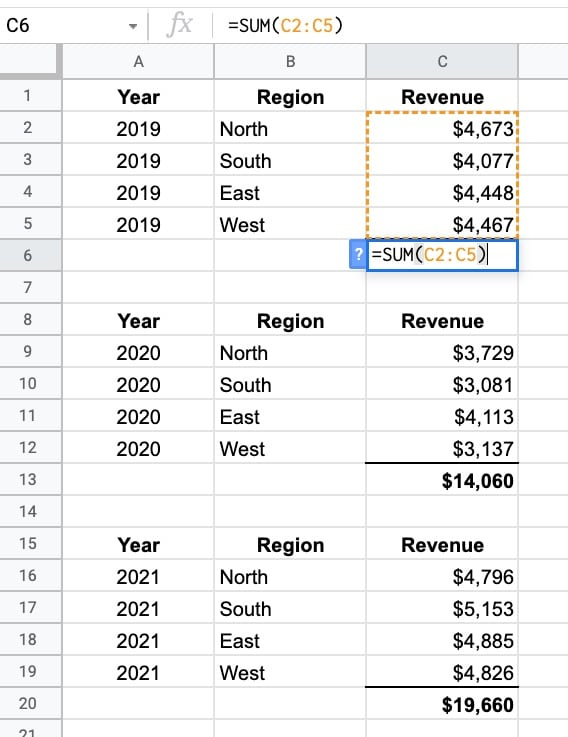Tables with subtotal in Google Sheets