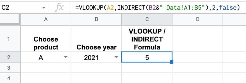 Vlookup Indirect Formula