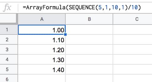 =ArrayFormula( SEQUENCE(5,1,10,1) / 10 )