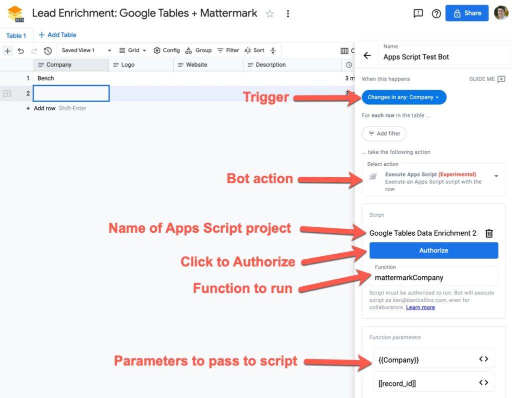 Google Tables Apps Script Bot Setup