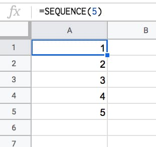 =SEQUENCE(5)