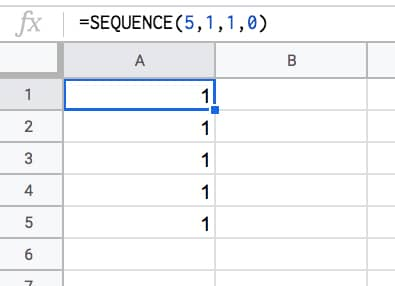 =SEQUENCE(5,1,1,0)