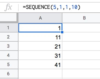 =SEQUENCE(5,1,1,10)