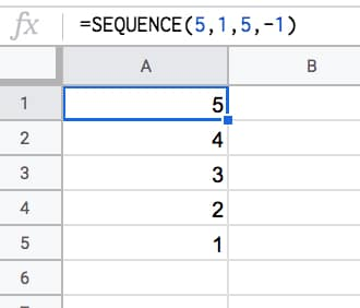 =SEQUENCE(5,1,5,-1)
